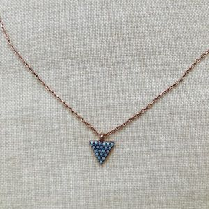 Dainty Rose Gold & Turquoise Triangle Necklace